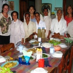 Sr Mariazinha, Sr Leotinha, Sr Alhira, Sr Carmelita, Sr Filomena and Sr Carmelita and one of their fabulous meals
